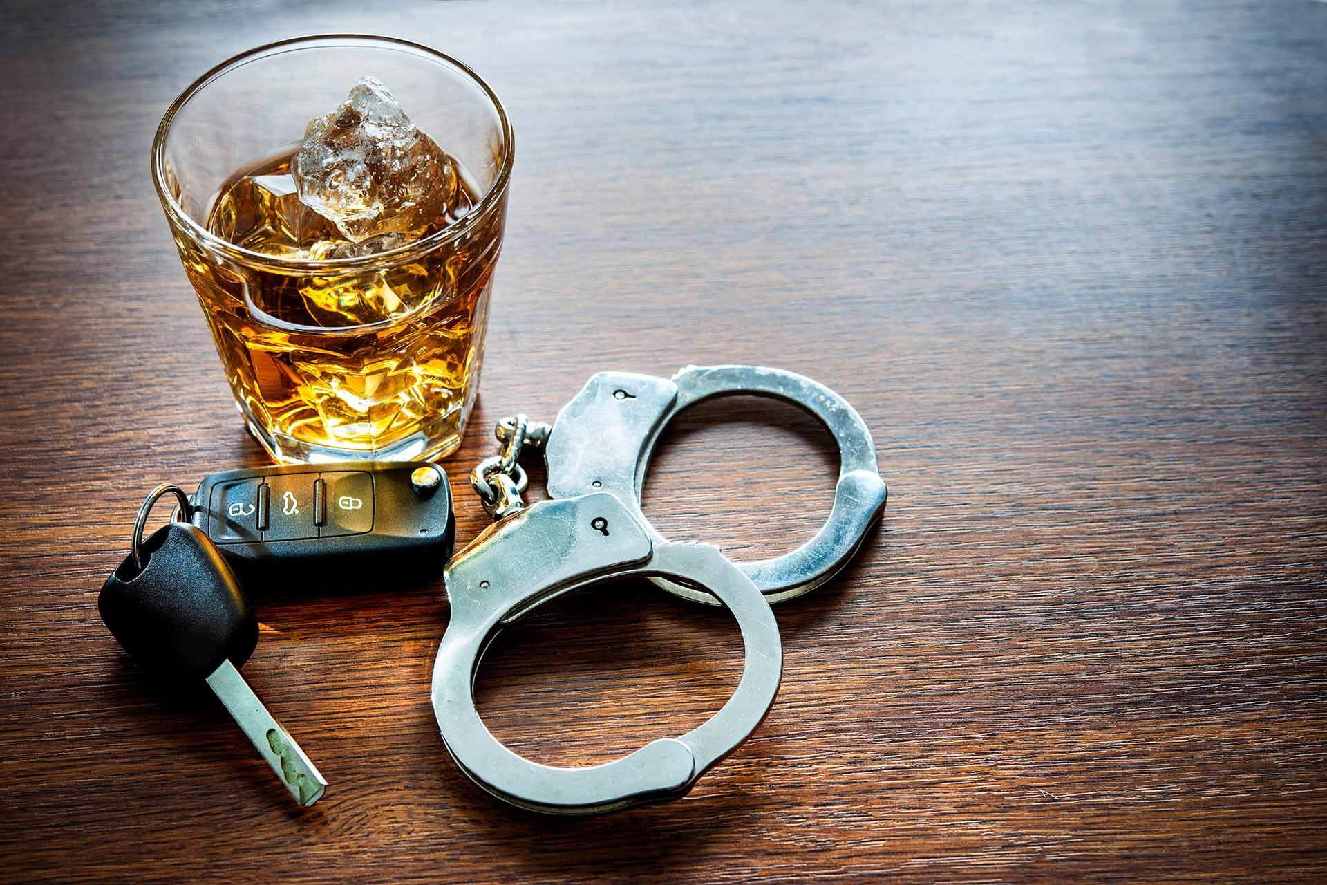Alcohol with Car Keys and Handcuffs in a Philadelphia Bar