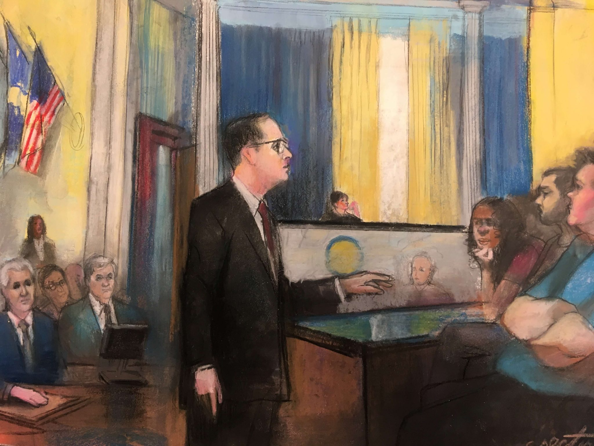 Courtroom sketch of Adam Grutzmacher addressing the jury in the Salvation Army collapse case.