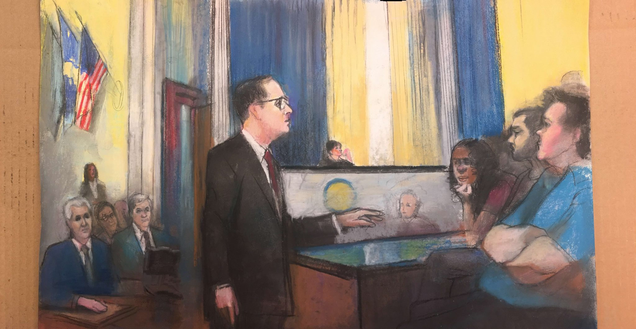 Illustration of Adam E. Grutzmacher in the Salvation Army Building Collapse Trial